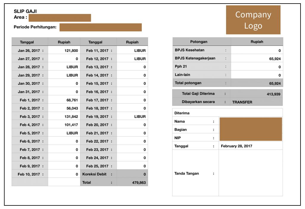 Contoh slip sesuai permintaan user - detail per day income